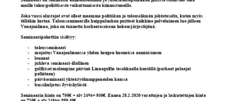 Vanajanlinnan Talousseminaari 27.-28.5.2020
